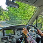 林道を走る車