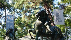 川中島古戦場跡 上杉謙信対武田信玄の像